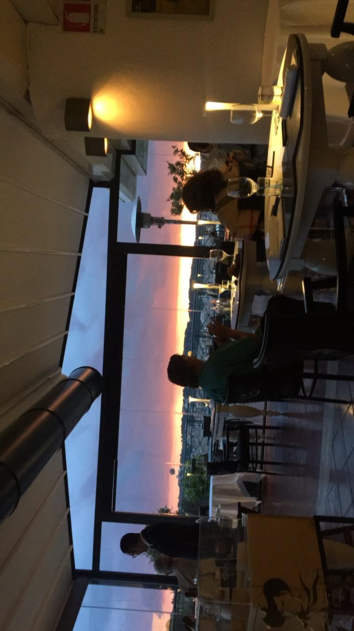 Sunset view from the roof top restaurant