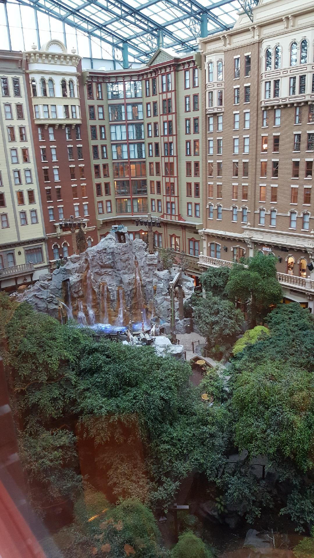 View from the room to indoor park / waterfall