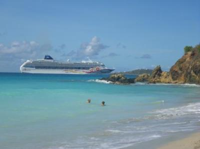 View from our beach of cruise ship entering Charlotte Amalie Harbor