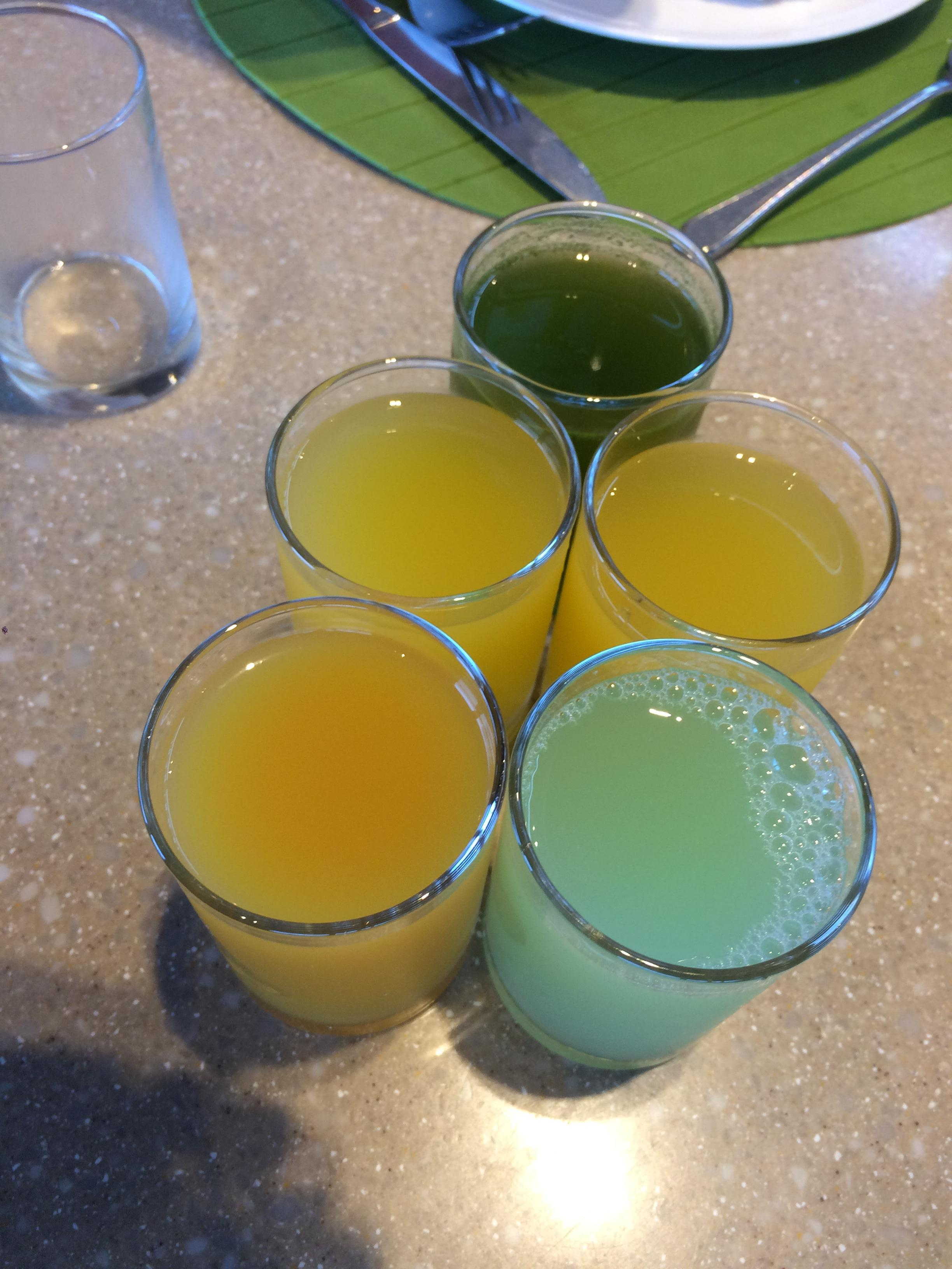Breakfast with fresh juices