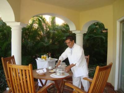 Room Service Breakfast on our private patio