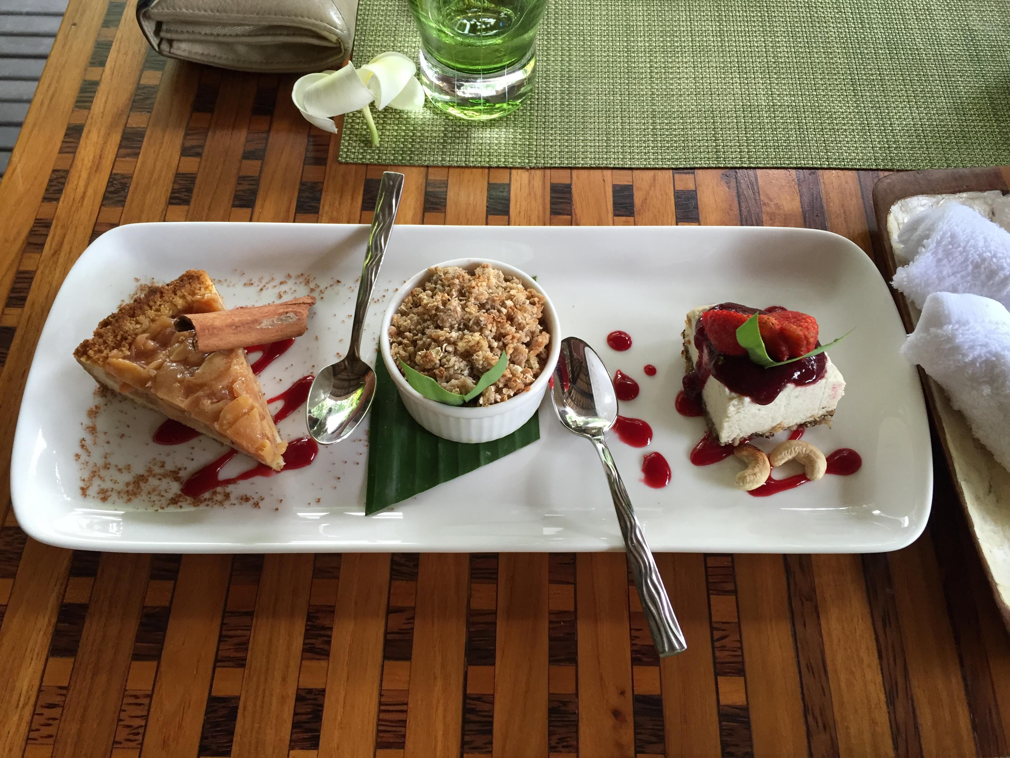 The dessert tasting plate at the River Cafe at Maya Ubud. All clean and raw, and most importantly delicious!