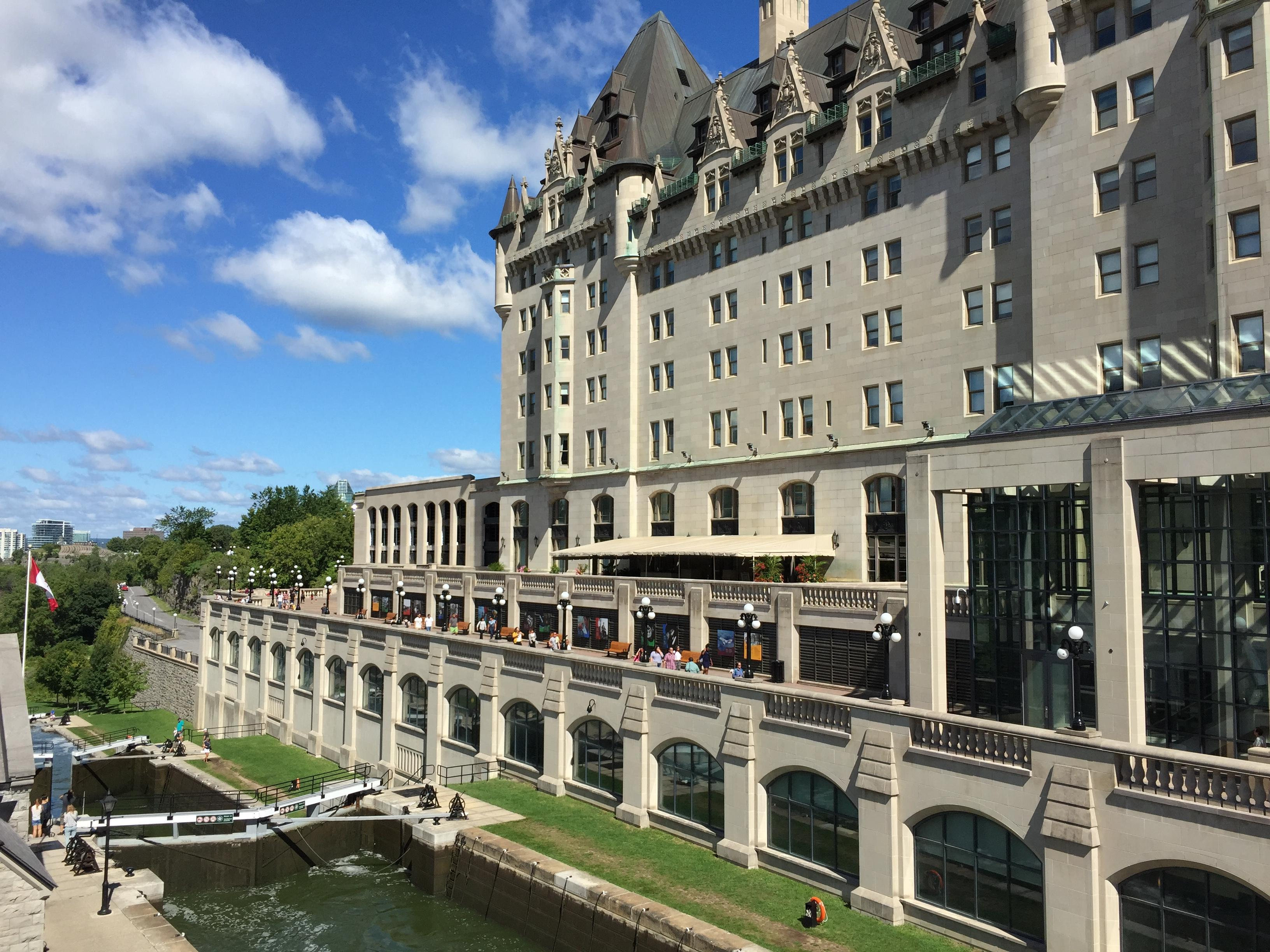 Exterior of hotel next to Rideau Canal.