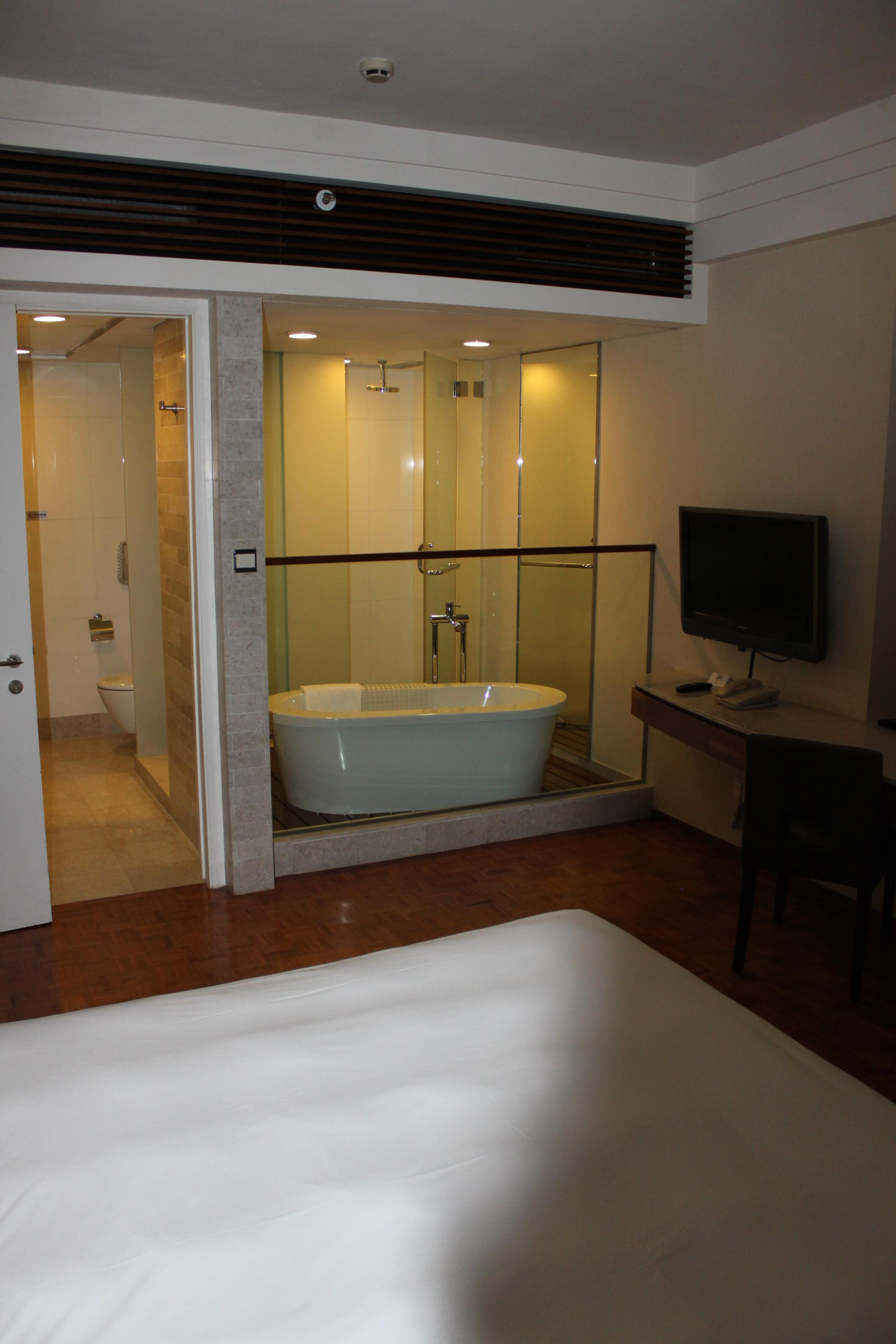 The bedroom and bathroom