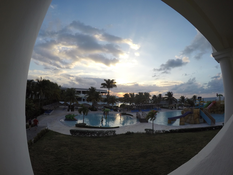 Sunset over main pool