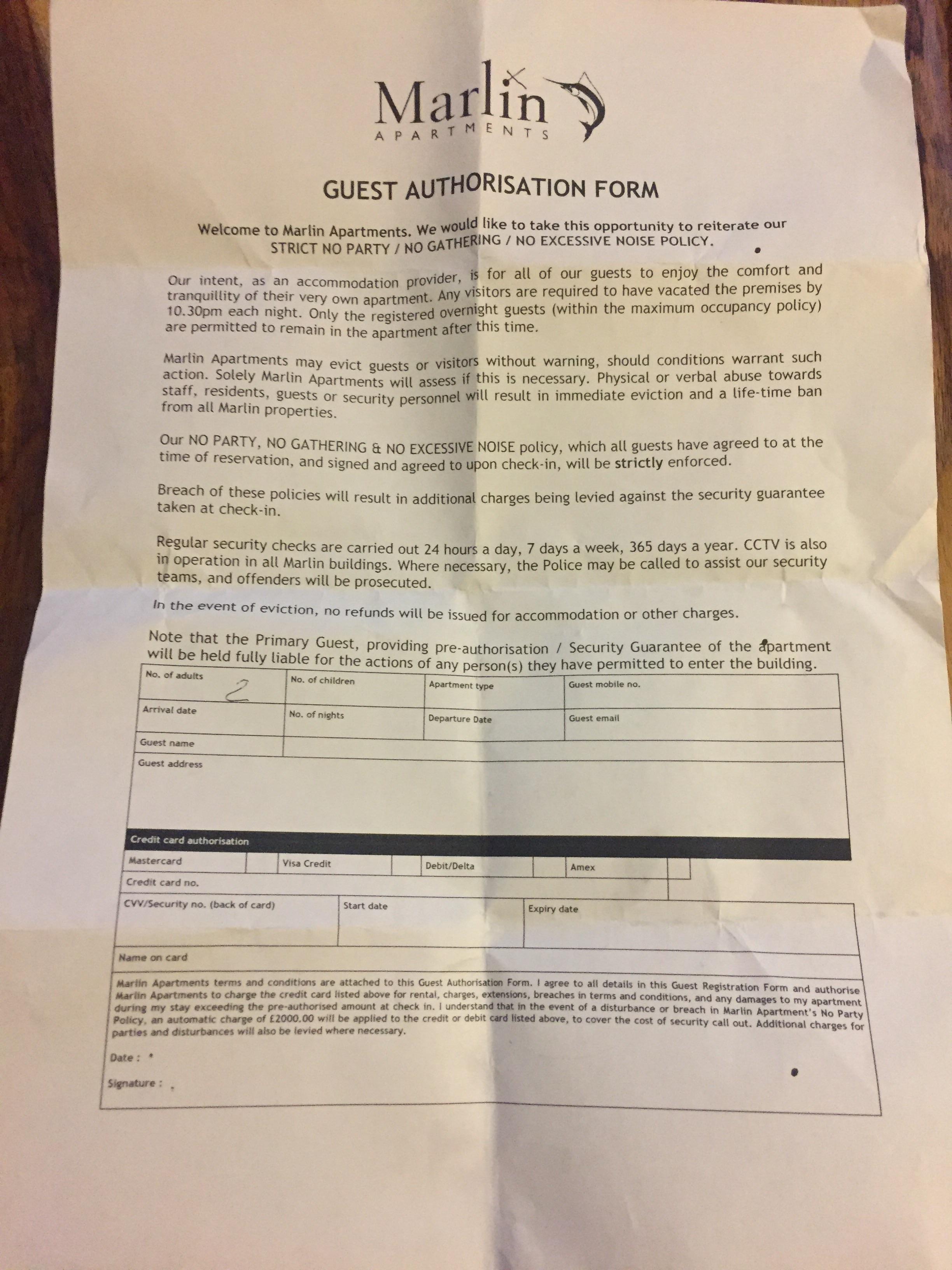 Card authorisation form for £2000 deposit