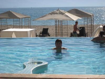 Private Beach Club pool and cabanas on beach