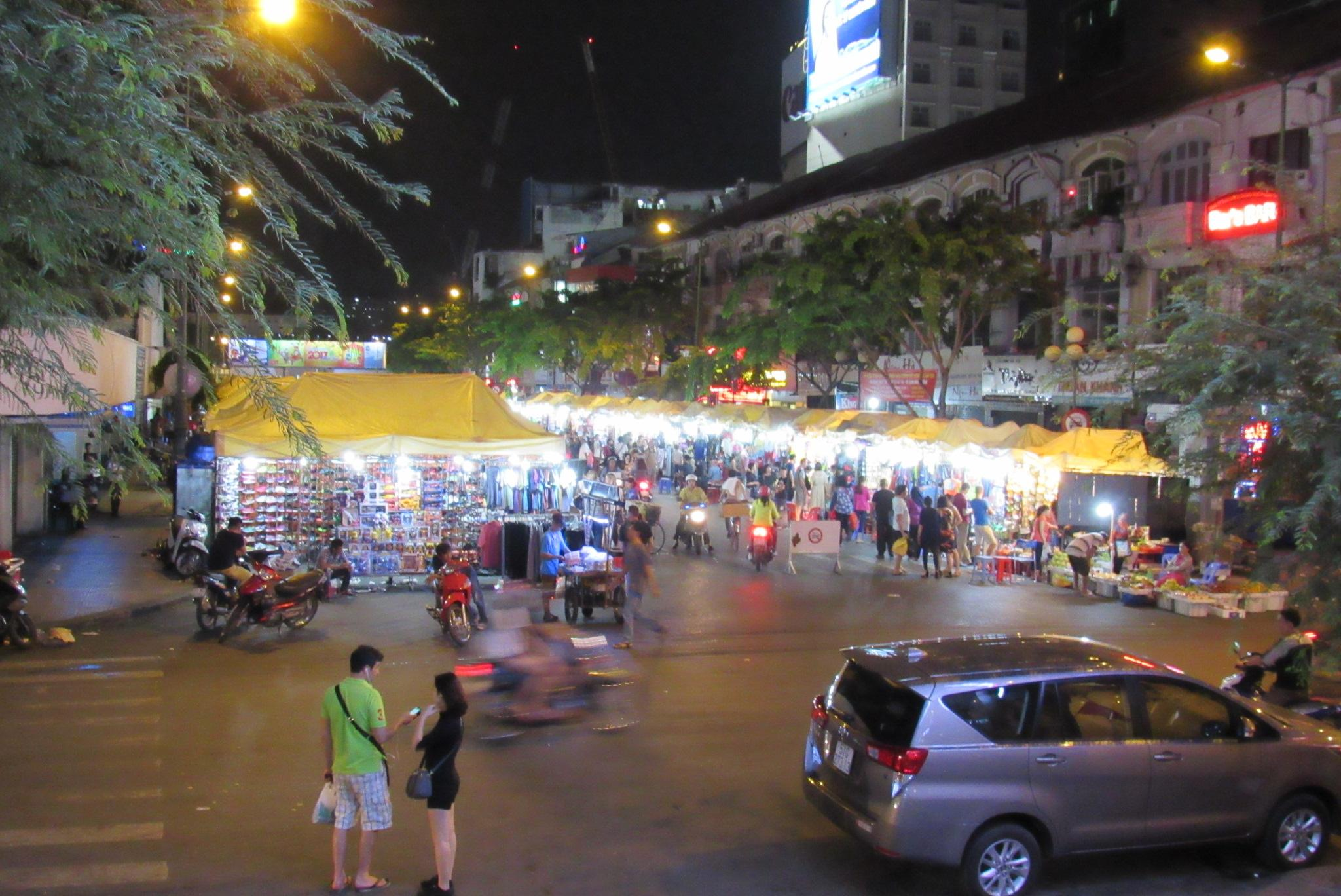 Night market view from front door