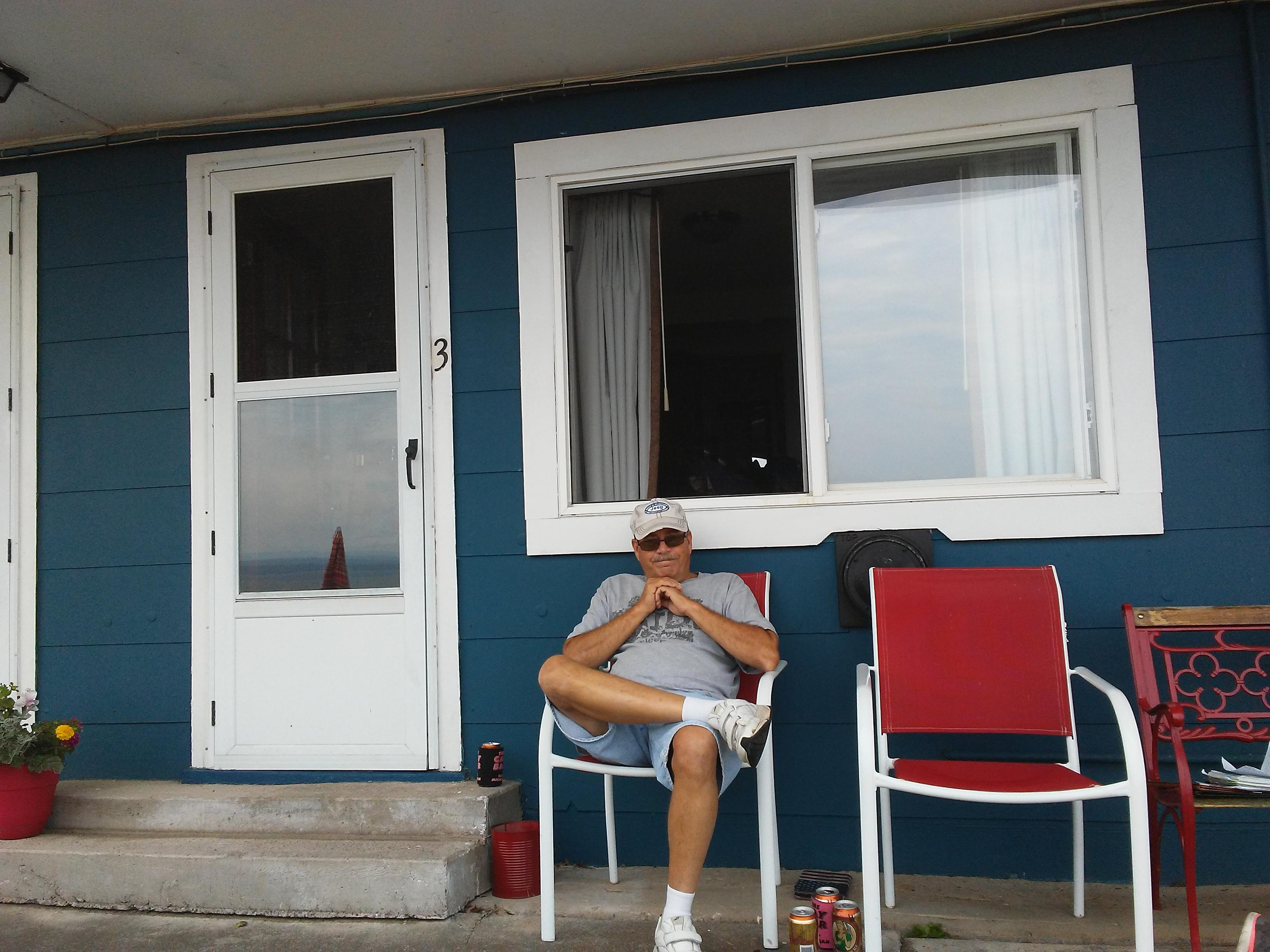 Front porch of motel
