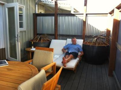 Me on the lounge on the private deck