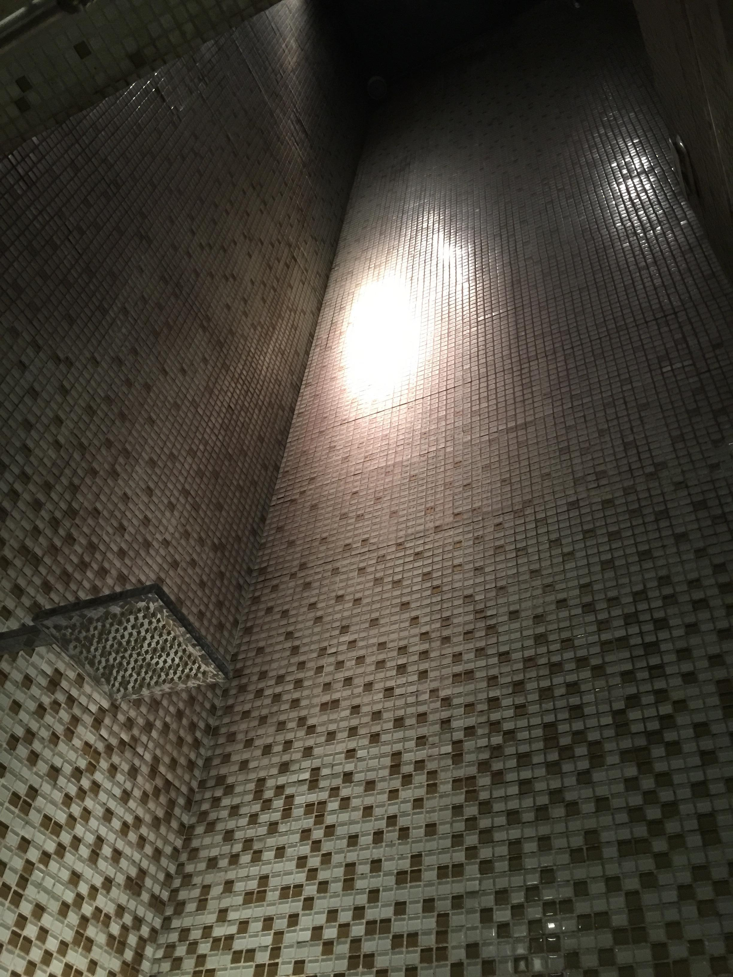 Looking up at the shower