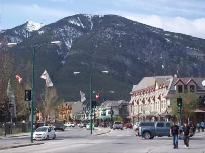 View from the front steps of the Banff International Hotel