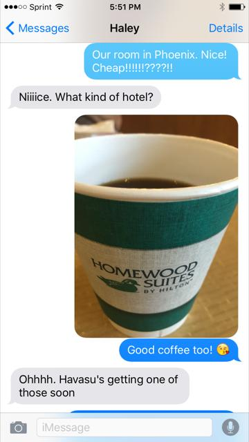 Even texted my daughter!