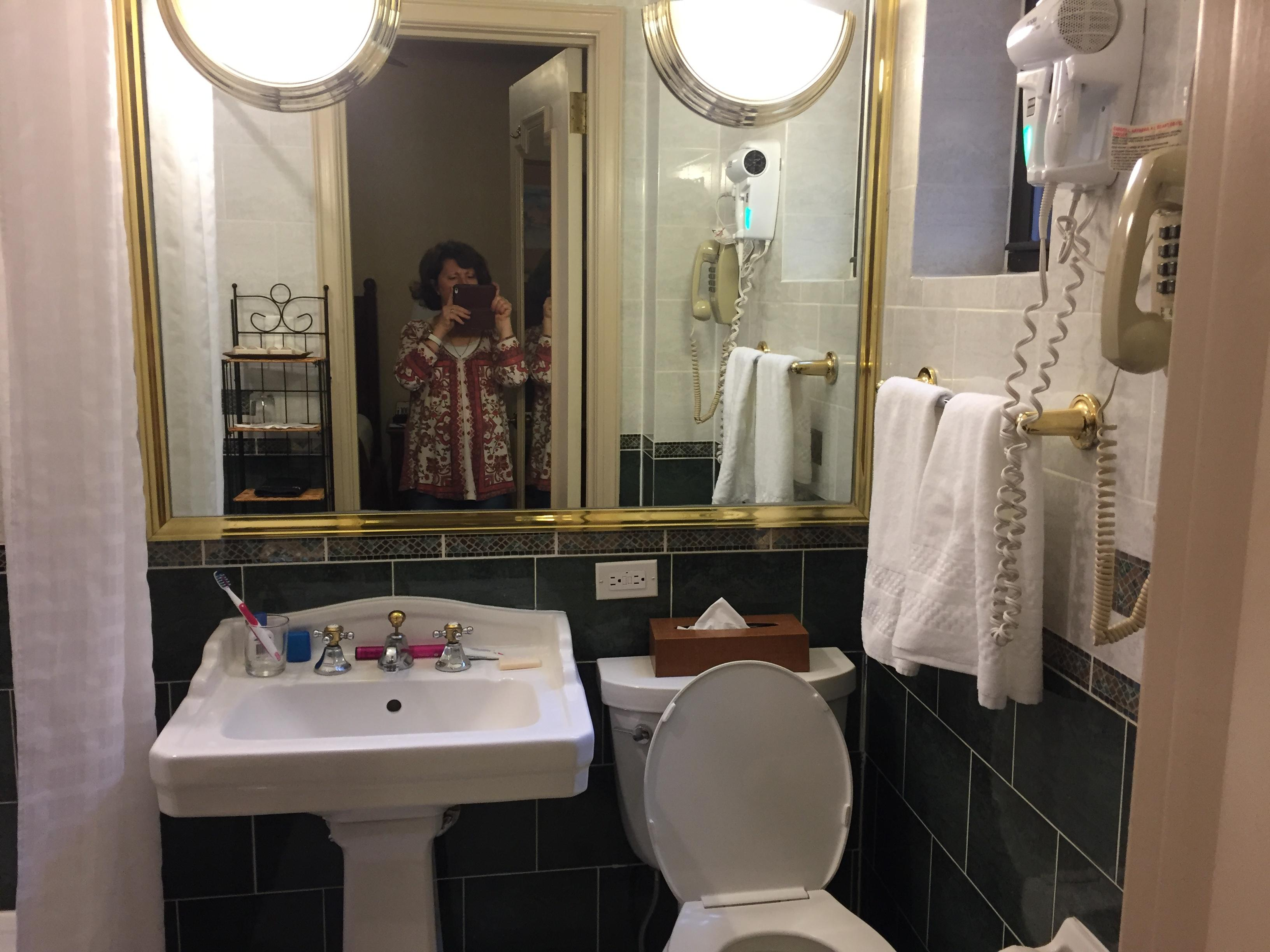 Tidy but tight bathroom