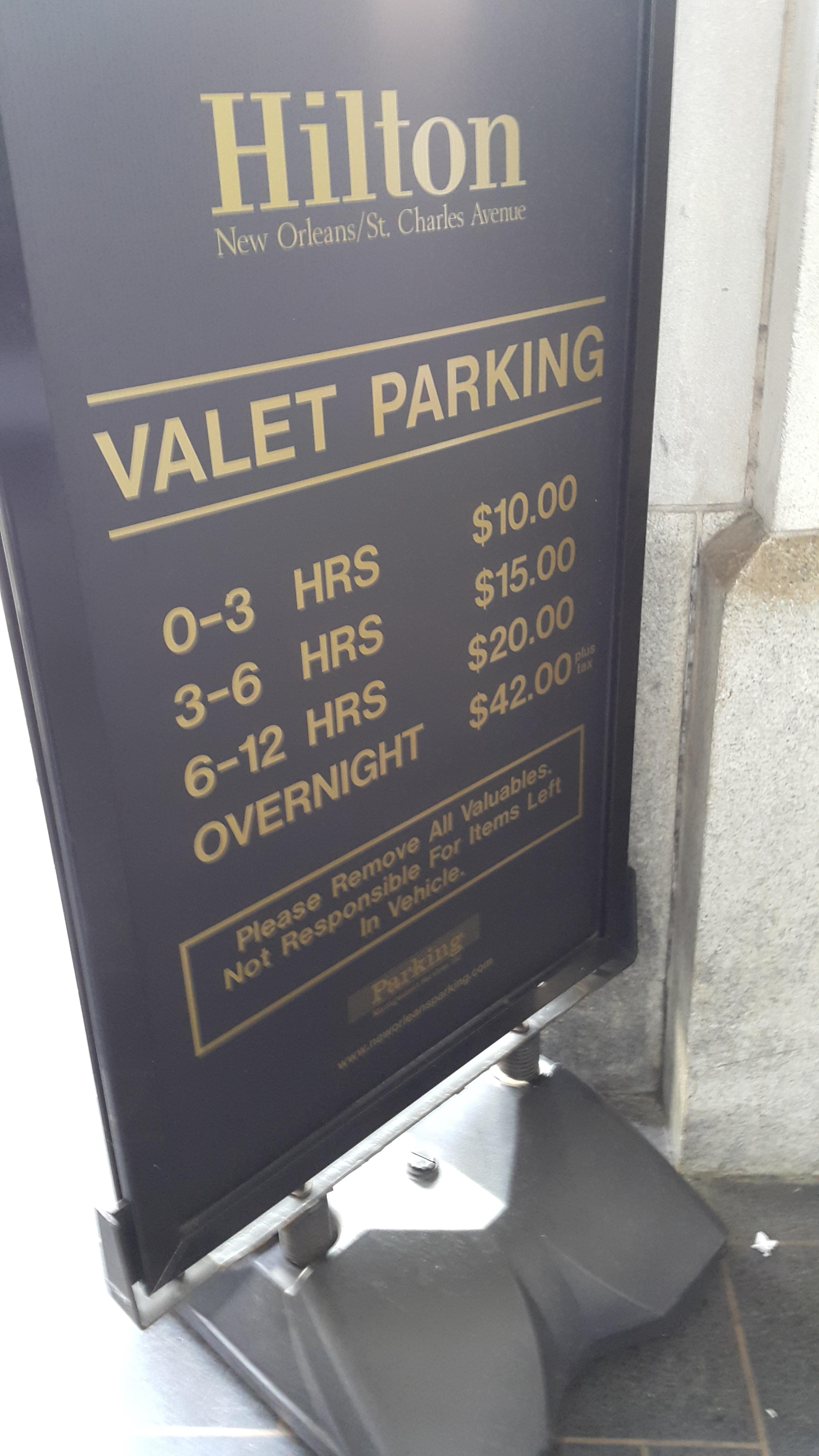 Valet charge is per night, not per day