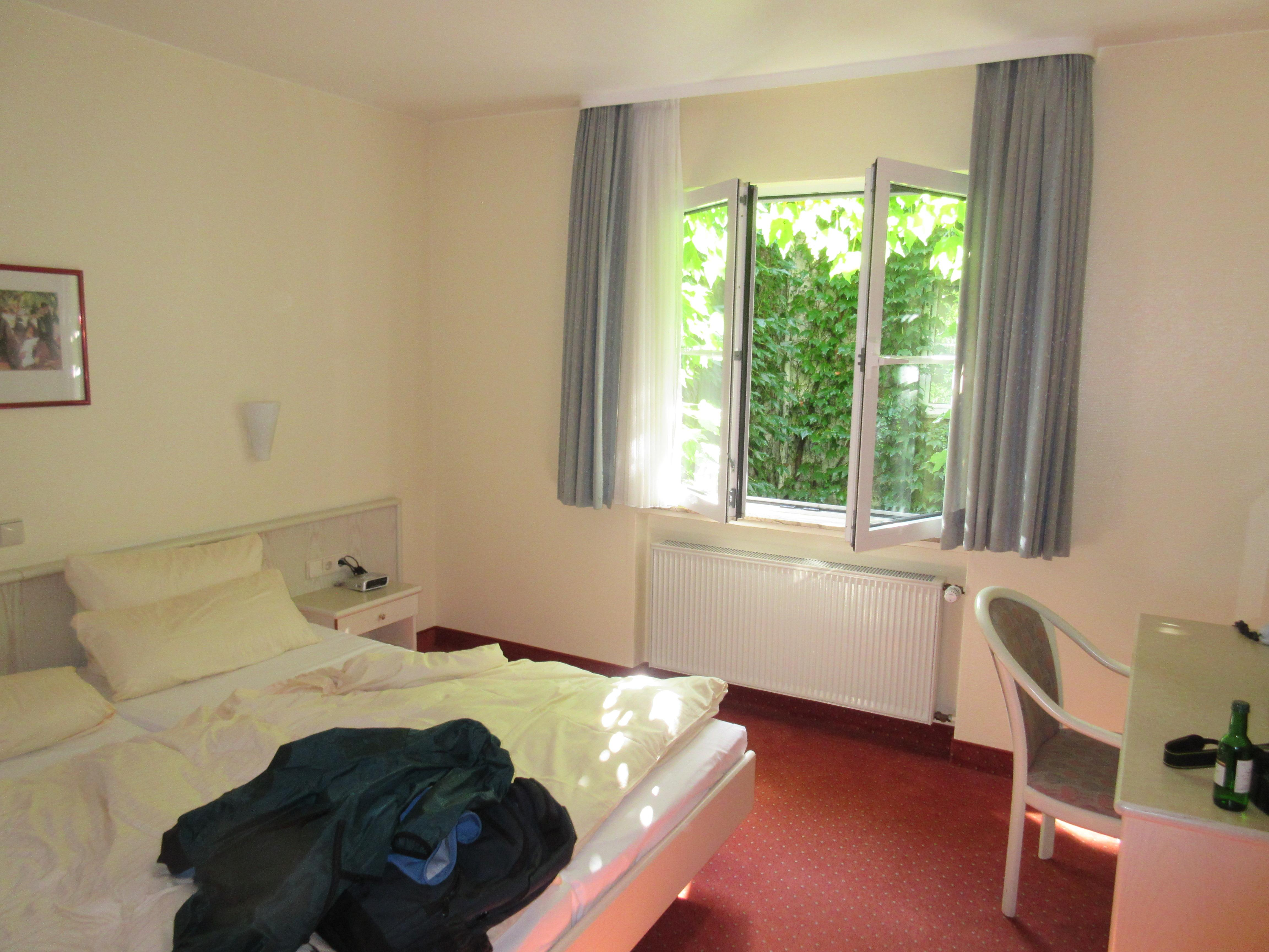 Bedroom toward window on interior courtyard