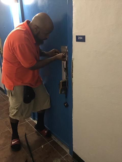 Breaking down hotel door