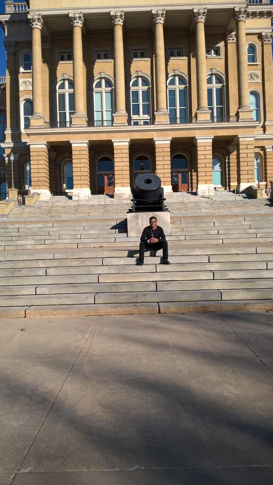 Sitting on the State Capital stairs
