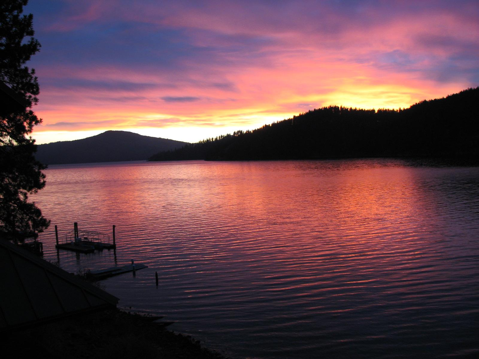 sunset at Coeur d'Alene Lake