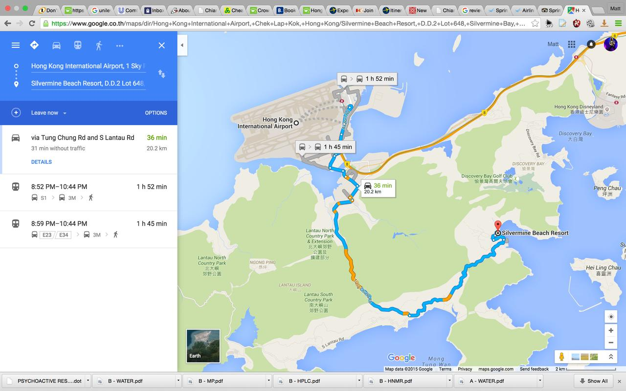 35min taxi, 1hr 52m by bus