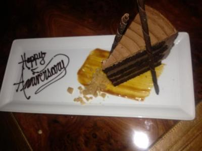 41st anniversary, compliments of Prospect Restaurant at Hotel Jerome