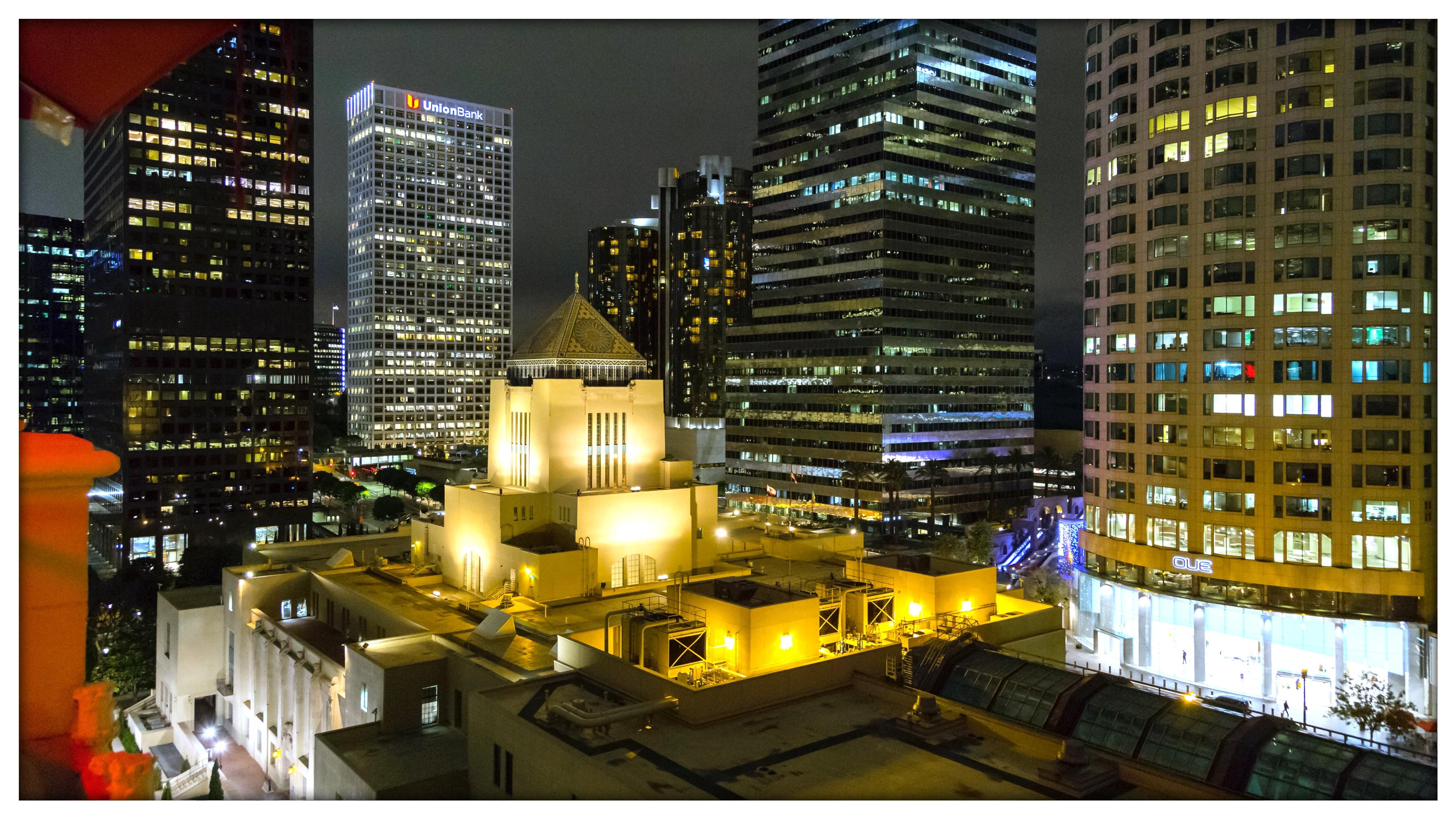 Nighttime view from the rooftop patio (L.A. Public Library in the foreground)
