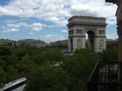 View of L'Arc de Triomphe from the balcony in our room.