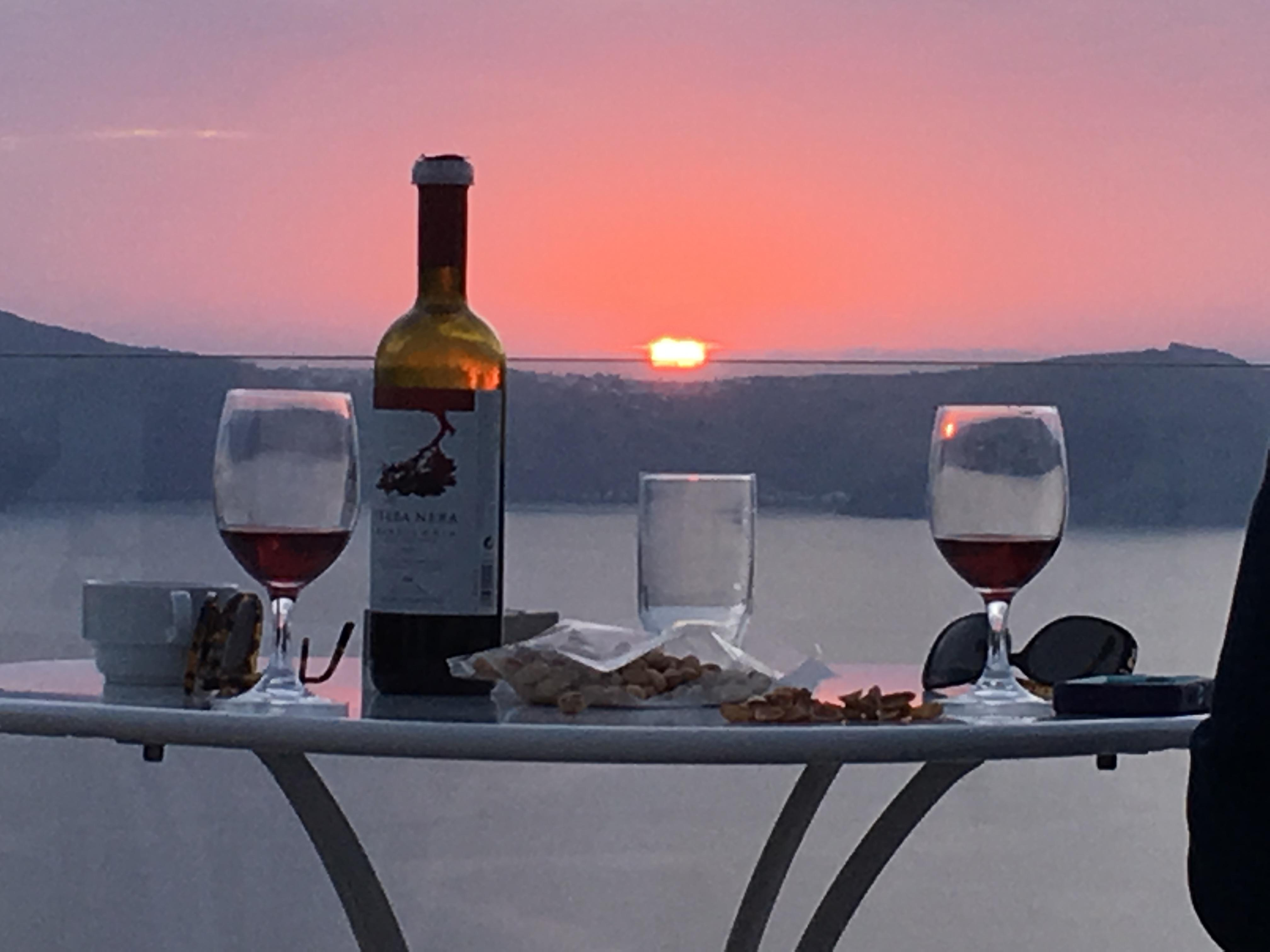 Sunset and Greek Wine