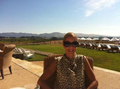 Wife having breakfast at the Hillside Restaurant near pool