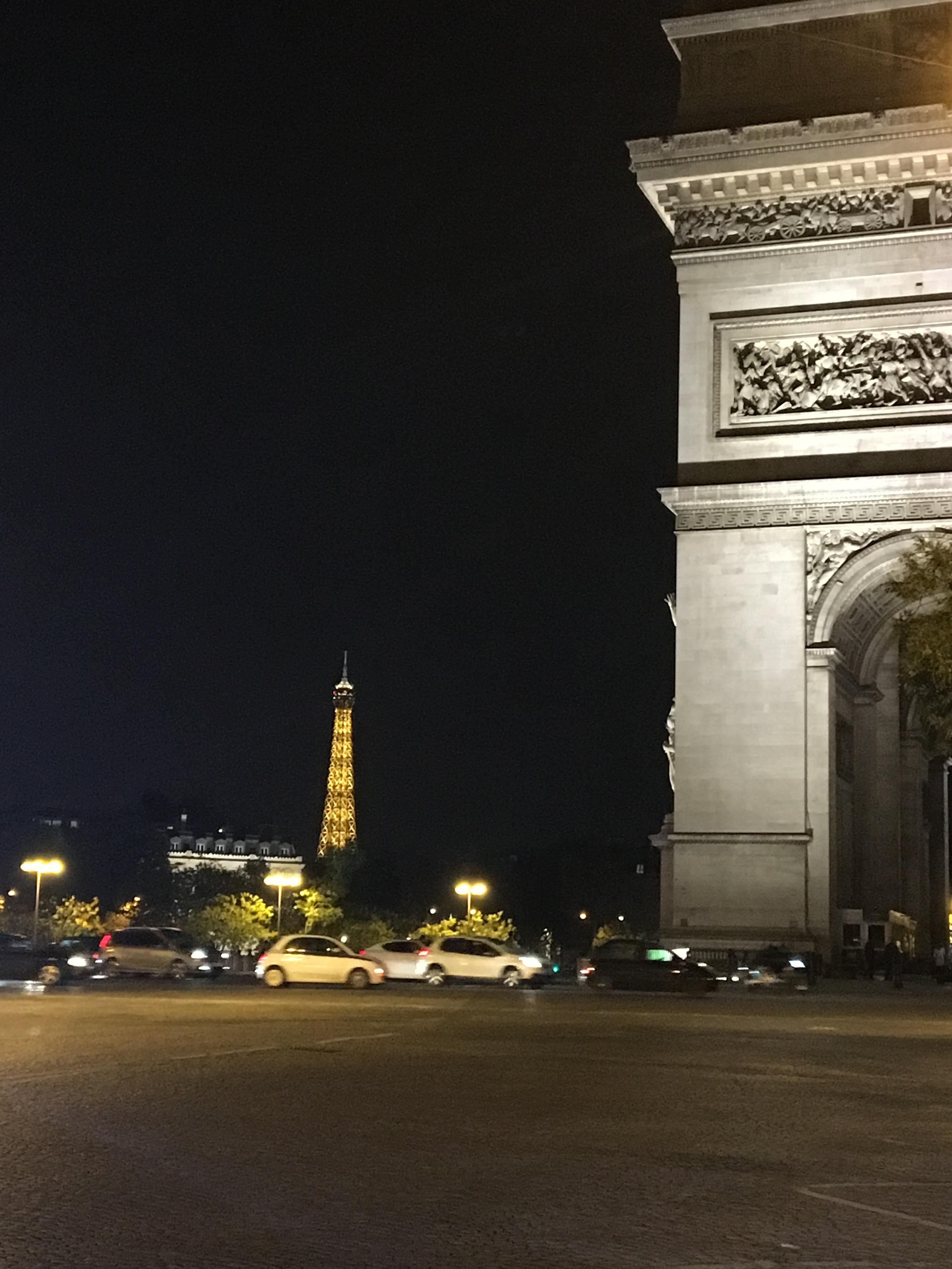 Paris landmarks at night