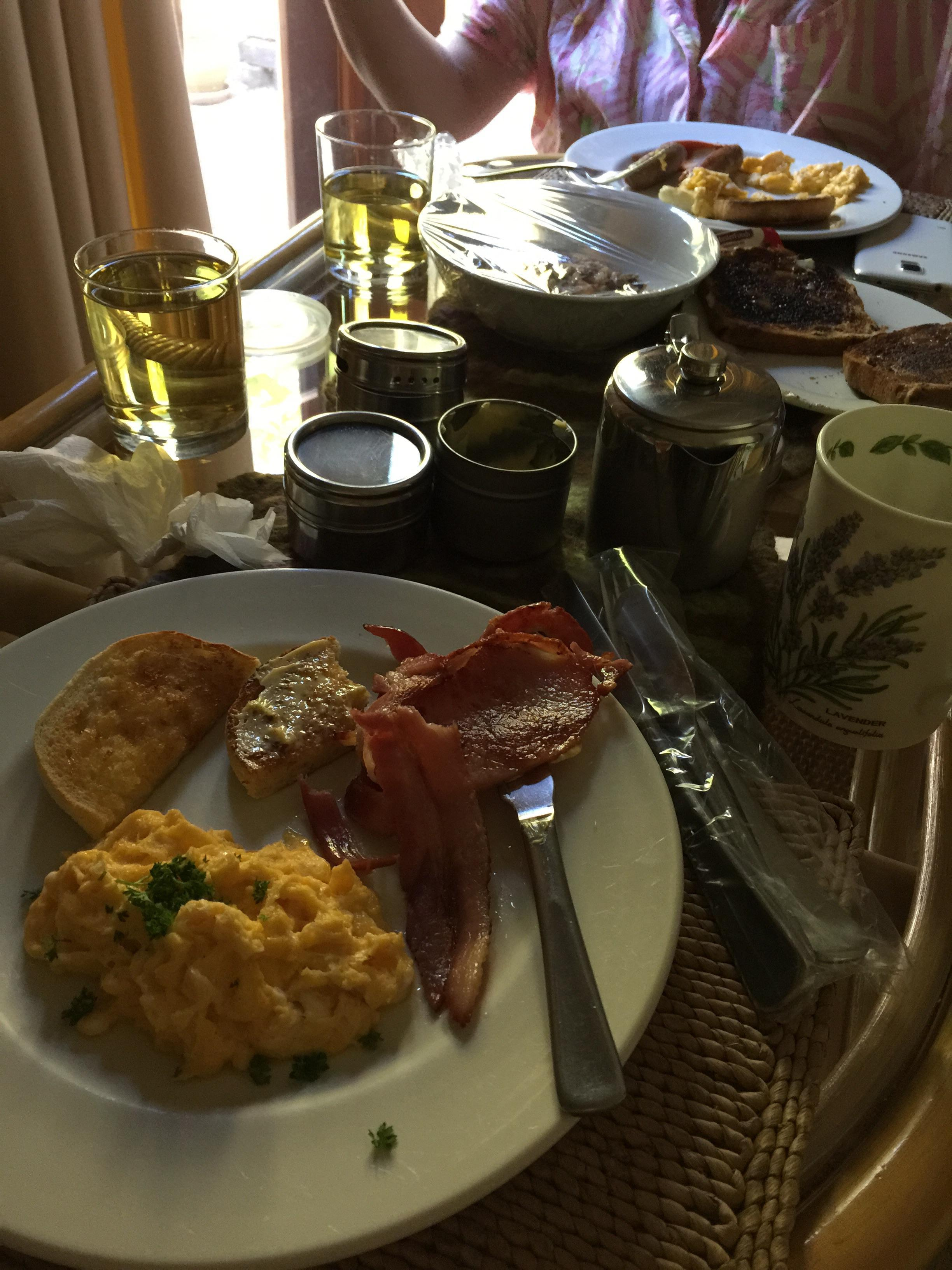 Our beautiful hot breakfast in the lavender room.