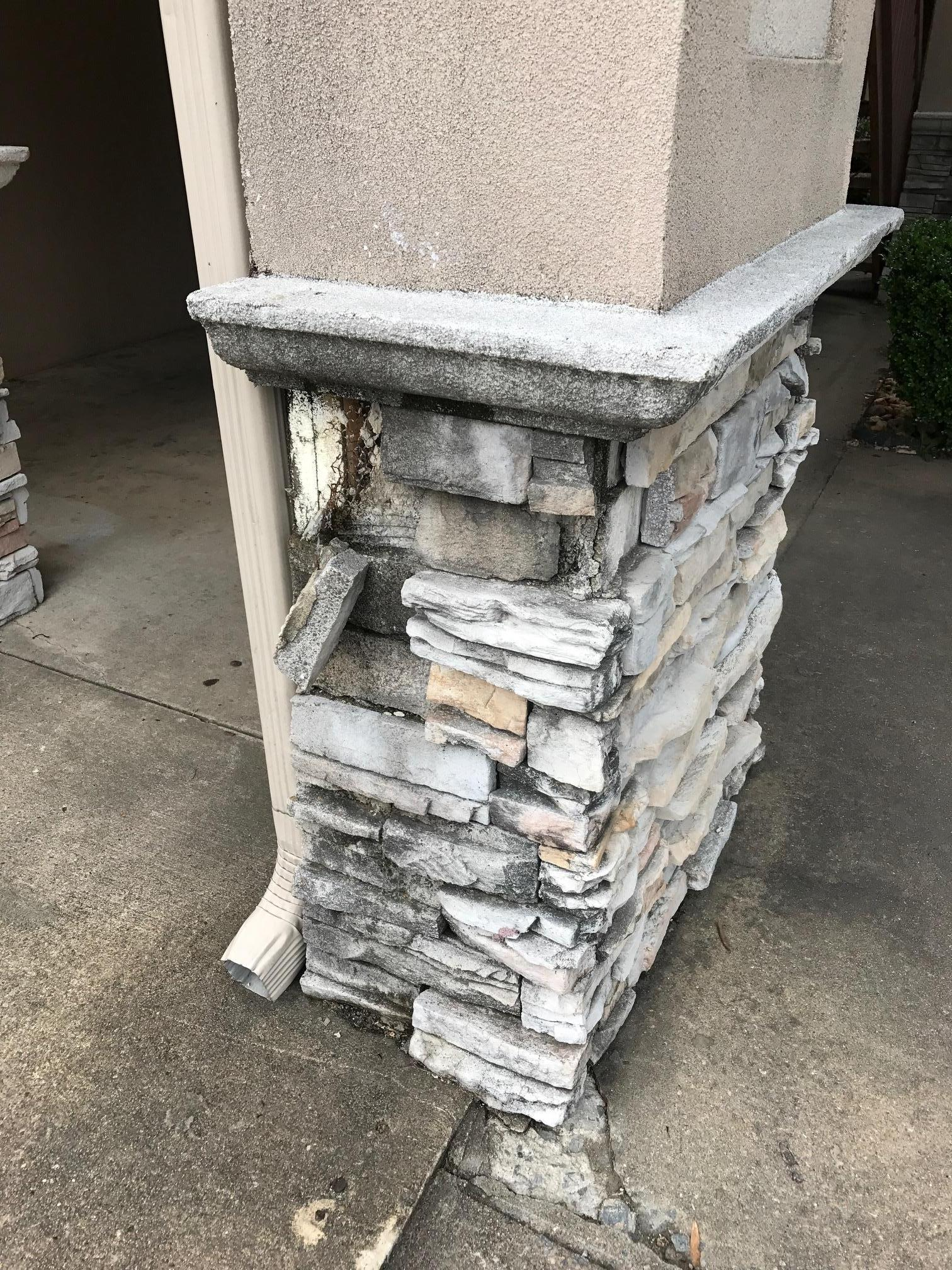 Another column with stone falling off
