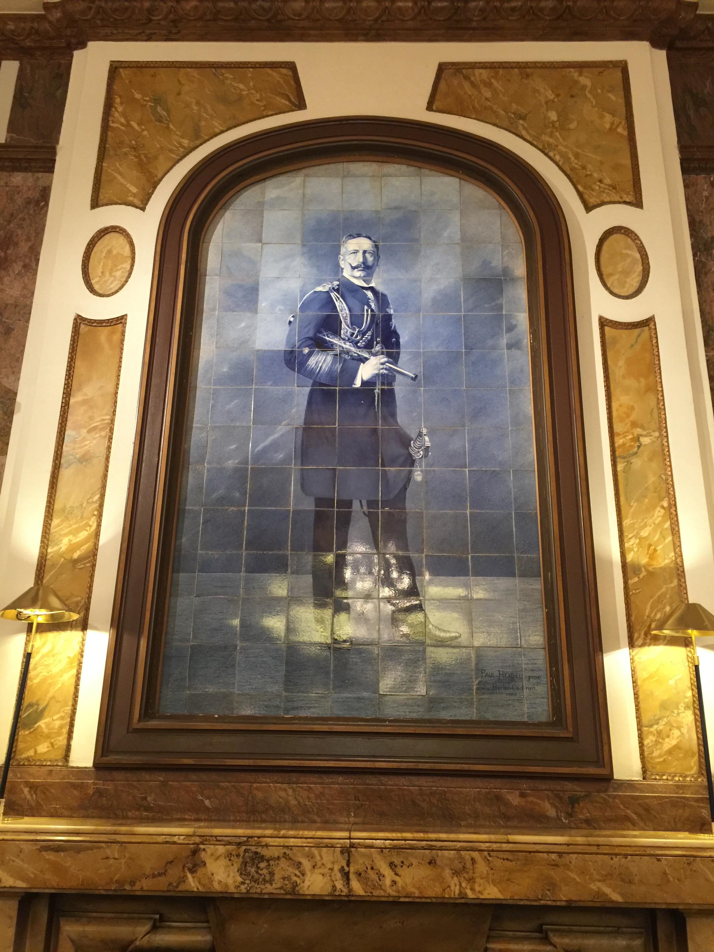 Kaiser Wilhelm II still watches over the lobby, just like he did in 1909
