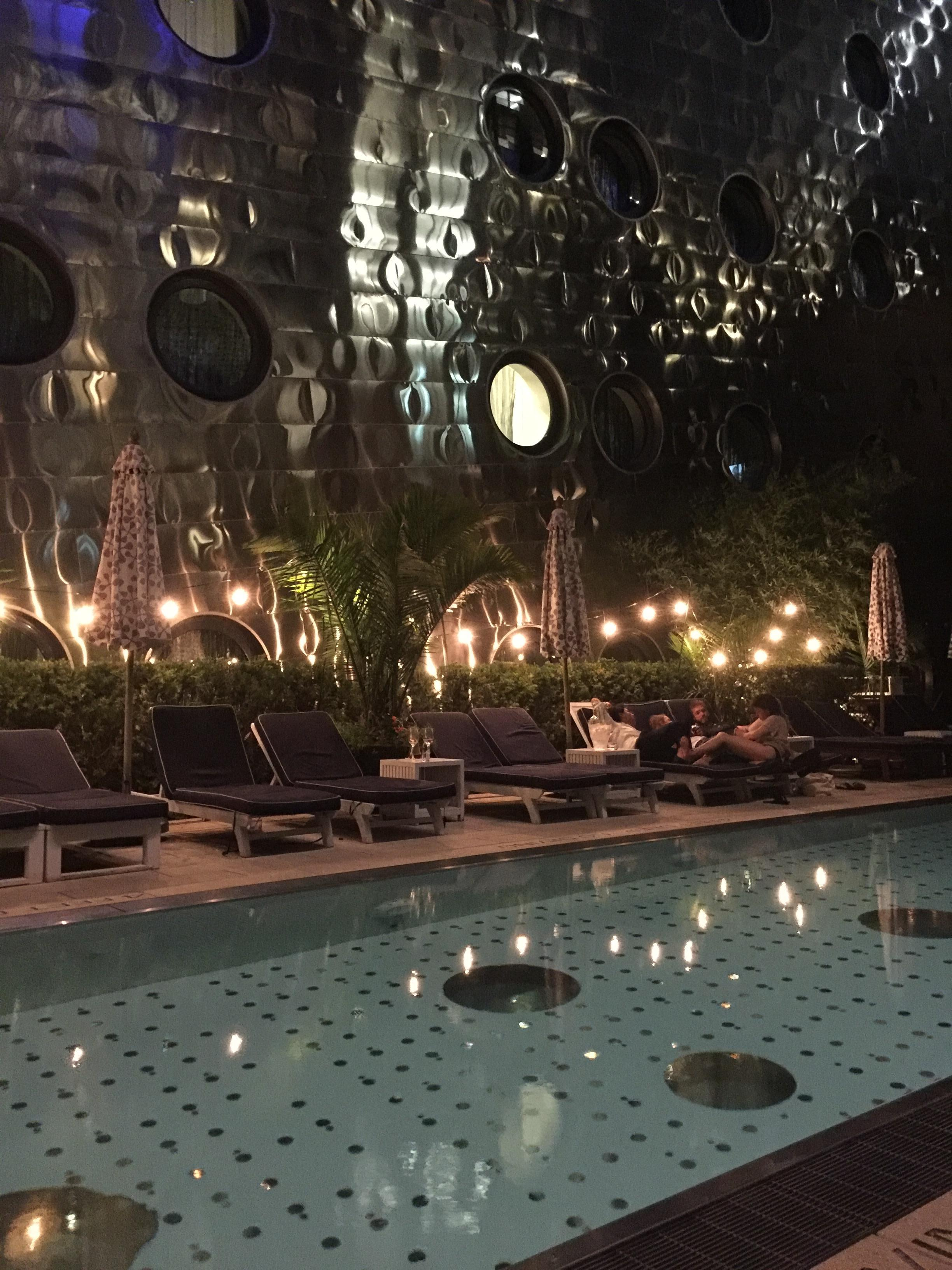 The Dream Downtown pool at night