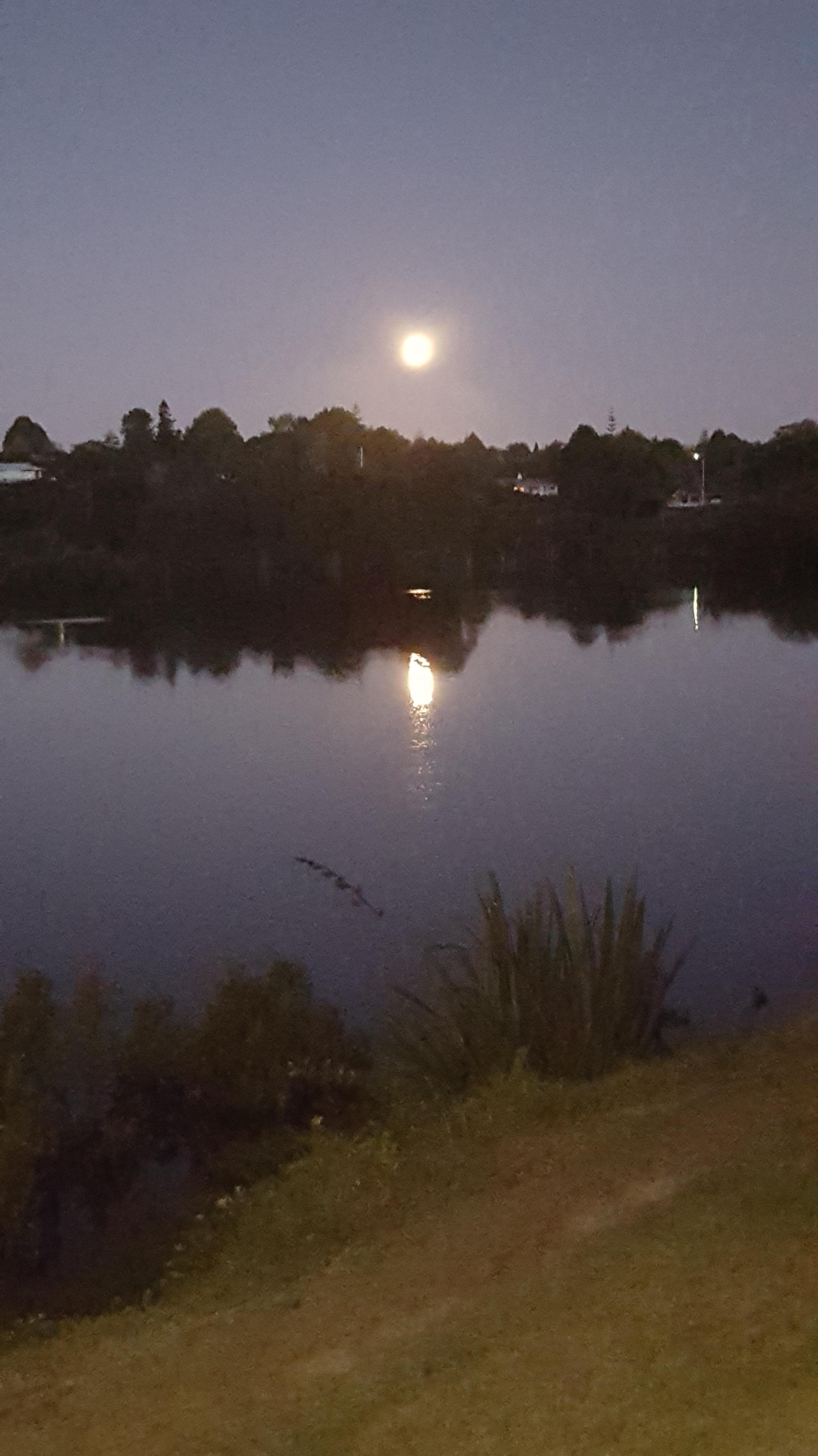Moon over the water at the local pub.