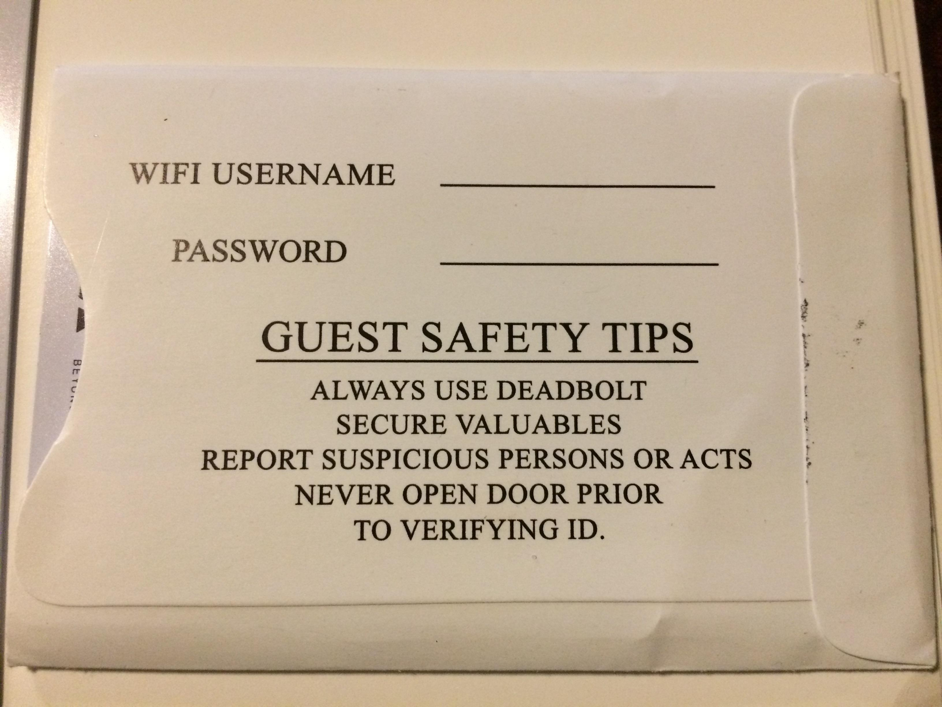 Safety warning on hotel key!