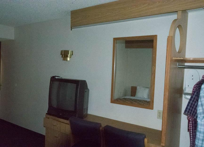 Television, chairs and closet