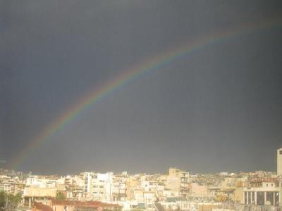 view of rainbow from my hotel room