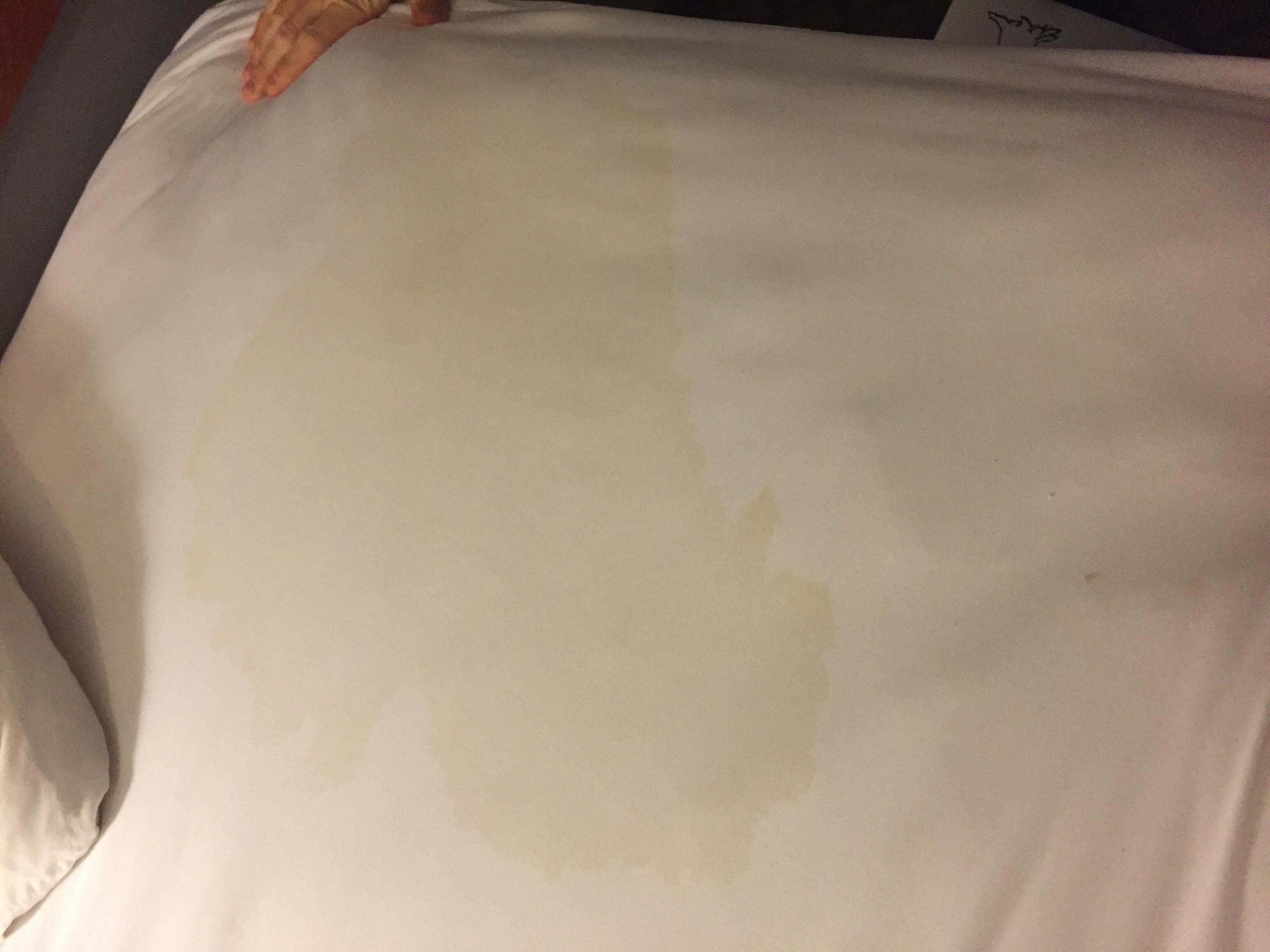 urine stained sheets upon entering