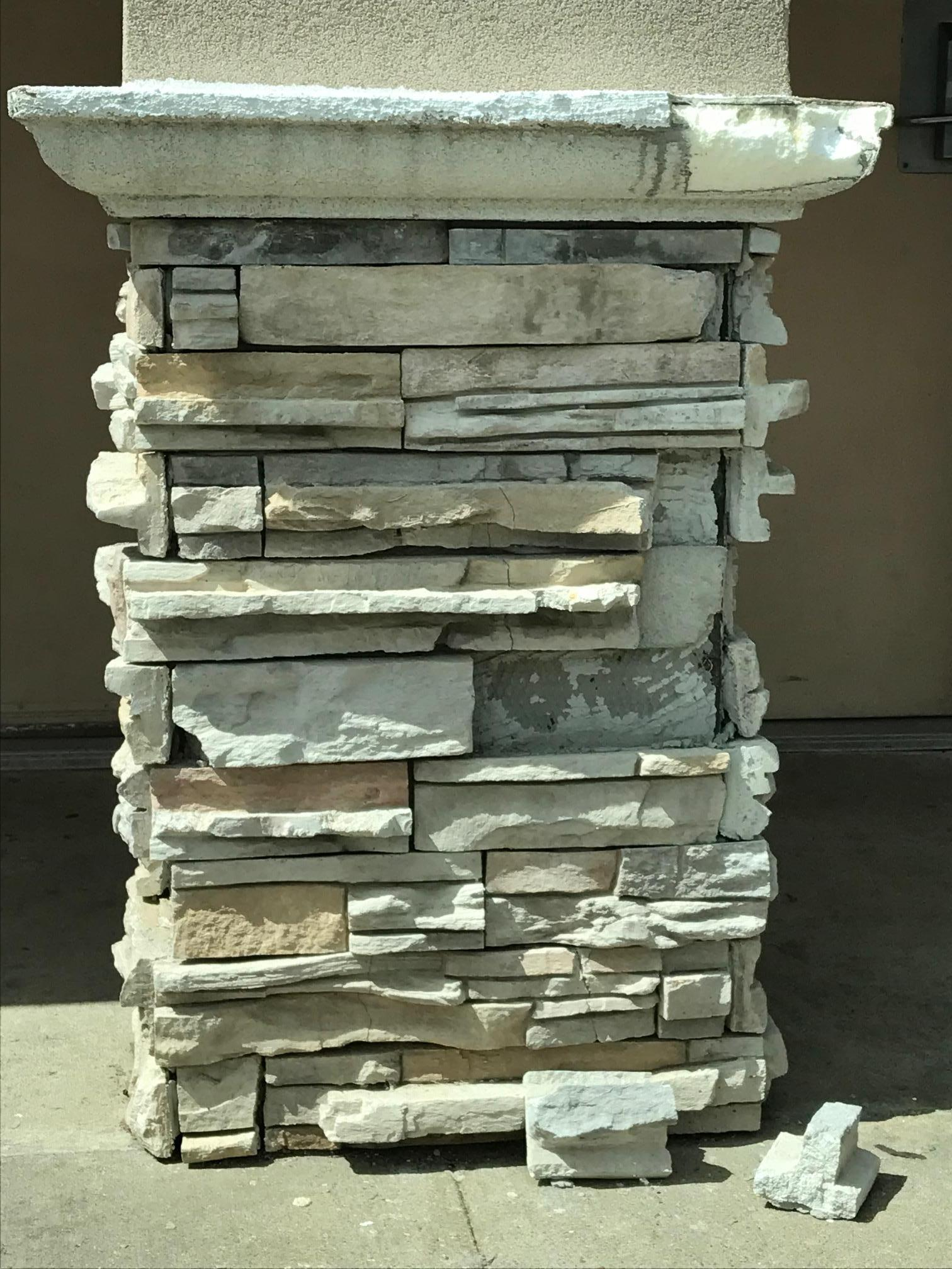 Column with stone falling off
