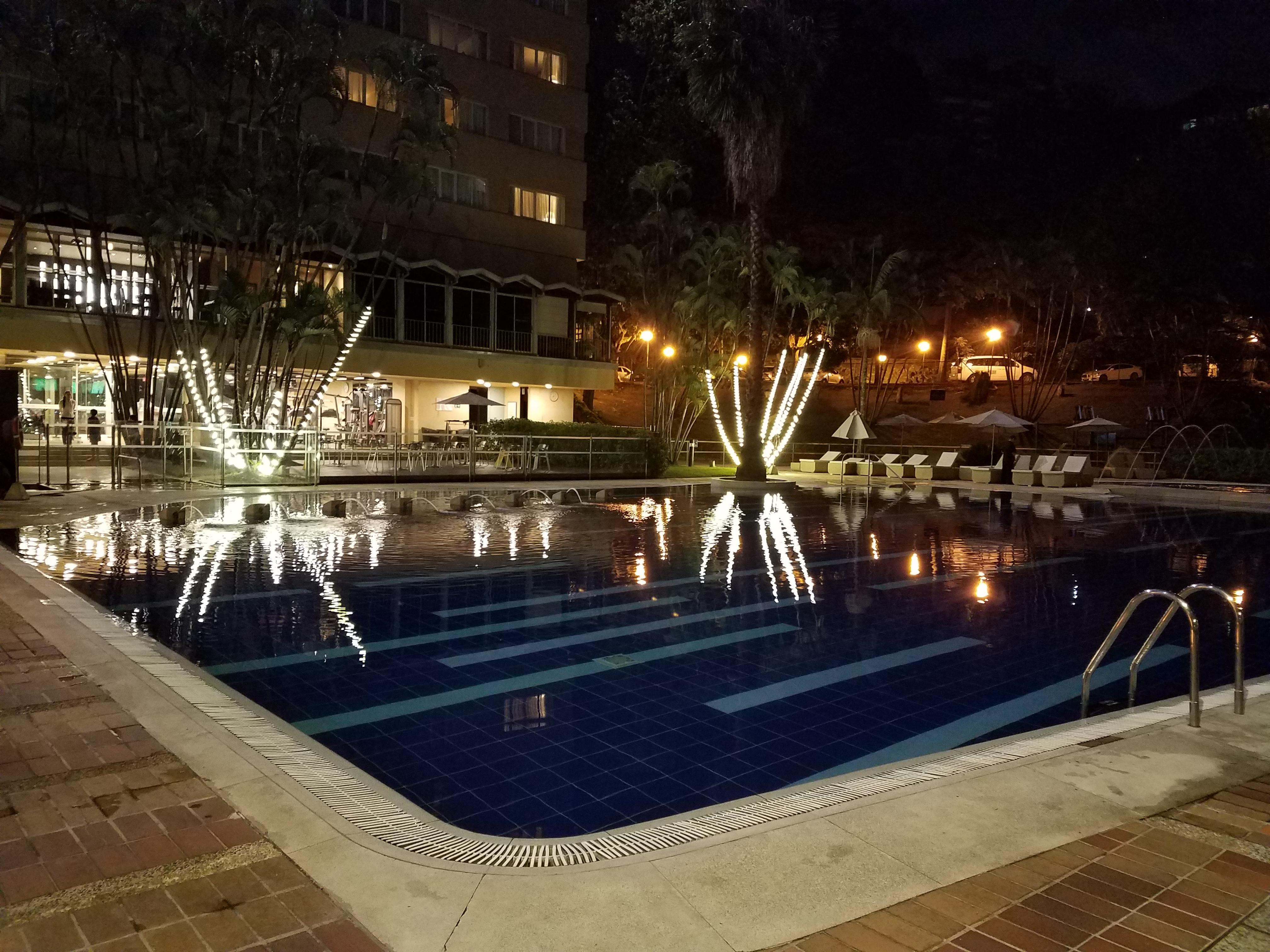The pool at night.