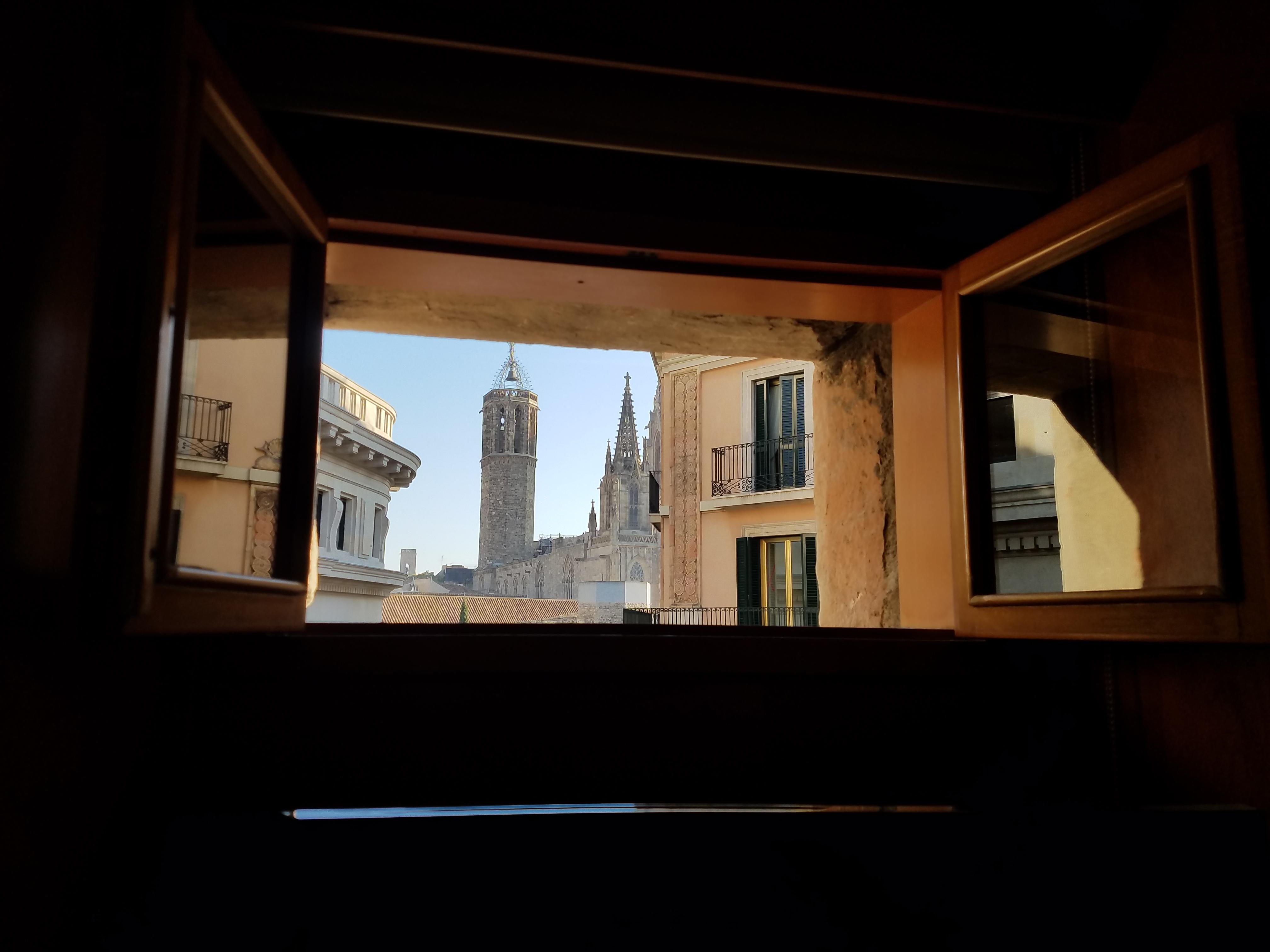 Peekaboo view of the cathedral from window above tv