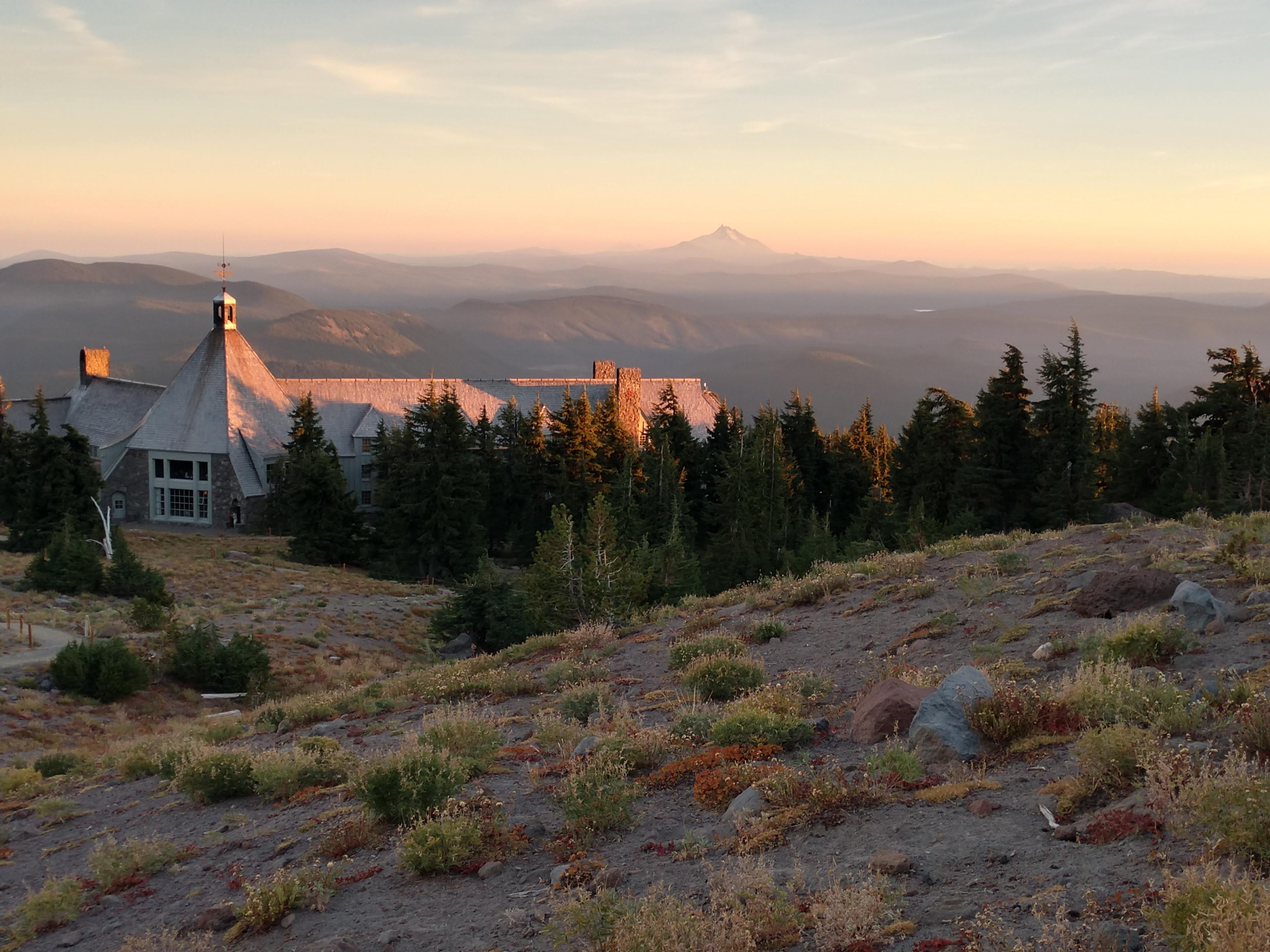 Uphill view of Timberline Lodge